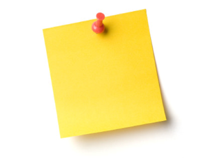 YELLOW POST IT NOTE ON RED THUMBTACK ANNOUNCEMENTS