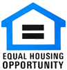 equal housing opportunity logo with black writing and blue house